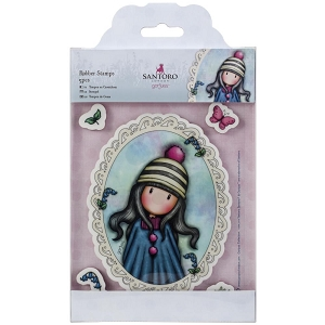 Do Crafts/Santoro - Gorjuss Girls - Cling Mounted Rubber Stamp - Pom Pom