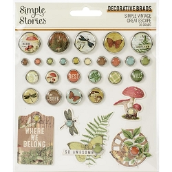 Simple Stories - Simple Vintage Great Escape collection Decorative Brads