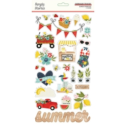 Simple Stories - Summer Farmhouse collection Chipboard stickers