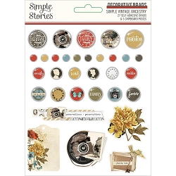 Simple Stories - Simple Vintage Ancestry collection Decorative Brads
