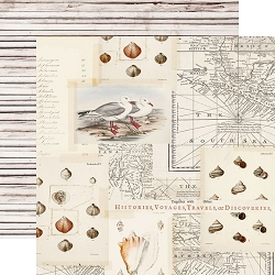 Simple Stories - Simple Vintage Coastal collection - Sandy Toes 12x12 cardstock