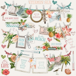 Simple Stories - Simple Vintage Coastal collection 12x12 Banner Stickers