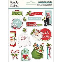 Simple Stories - Simple Vintage North Pole collection Layered Stickers