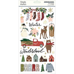 Simple Stories - Winter Cottage collection Chipboard stickers