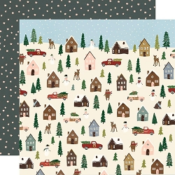 Simple Stories - Winter Cottage collection - Winter Wonderland 12x12 cardstock