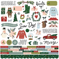 Simple Stories - Winter Cottage collection 12x12 Combo Stickers