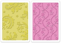 Sizzix - Textured Impressions Embossing Folder by Brenda Walton - 2 Pack - Damask & Beaded Floral Stripe Set