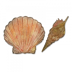 Sizzix - Bigz Die by Tim Holtz - Seashells with Texture Fades Embossing Folder