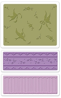 Sizzix - Textured Impressions - Embossing Folders - 3/Pkg - Bird & Lace Set