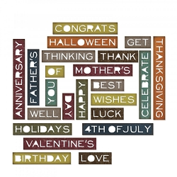 Sizzix - Thinlits Die Set by Tim Holtz - Thin Sentiment Words