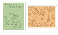 Sizzix - Textured Impressions Embossing Folders 2 Pk - Bicycles Set by Rachael Bright