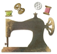 Sizzix - Sizzlits - Die - Sewing Machine & Bobbins  :)