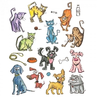Sizzix - Thinlits Die Set by Tim Holtz -Mini Crazy Cats and Dogs
