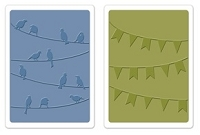 Sizzix - Textured Impressions Embossing Folders - Birds & Banners by Karen Burniston (2pk)  :)