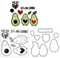 Sizzix - Framelits die & stamp set - Avocuddle by Katelyn Lizardi