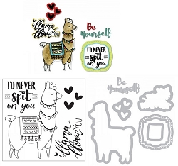 Sizzix - Framelits die & stamp set - Llama Love by Katelyn Lizardi