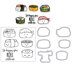 Sizzix - Framelits die & stamp set - Sushi Roll by Jen Long
