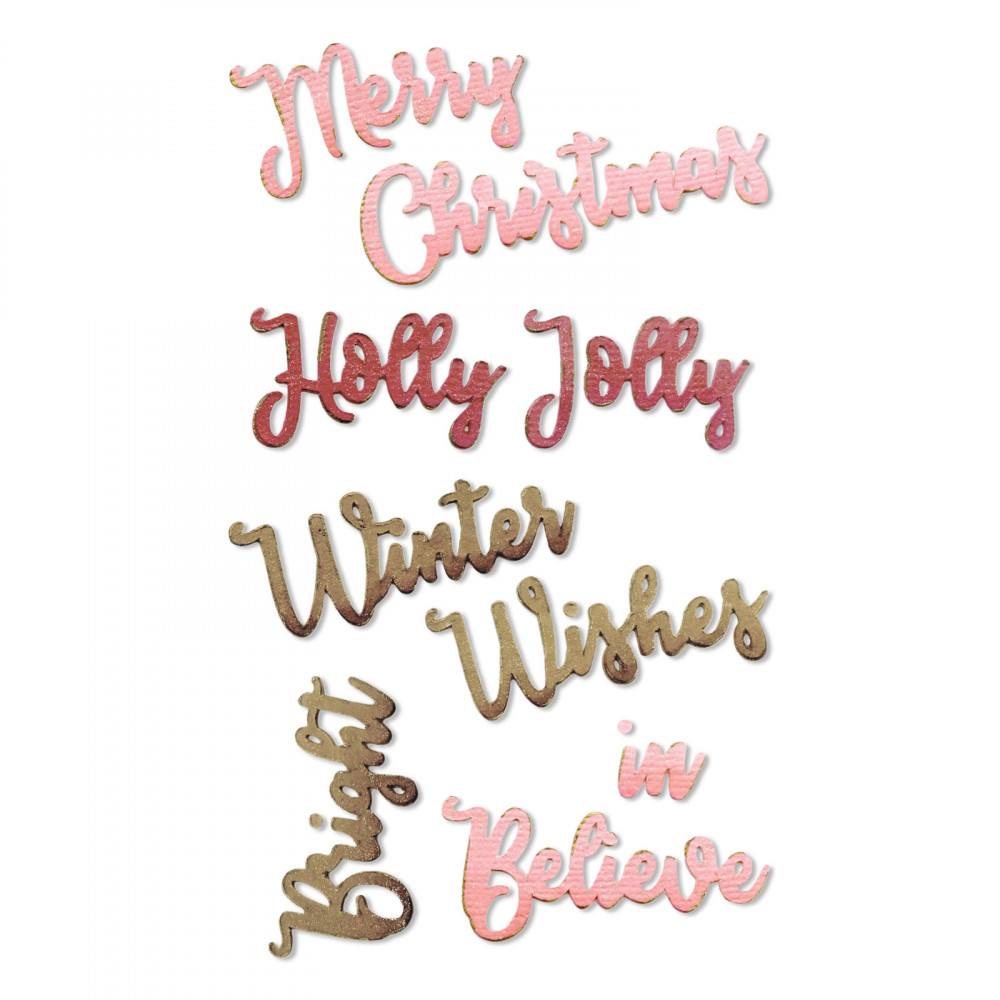 Christmas Card Phrases.Sizzix Thinlits Die Christmas Phrases 1 By Jen Long