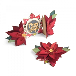 Sizzix - Thinlits die - Poinsettia Fold-A-Long Card by Jen Long