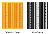 Sizzix-Textured Impressions-Embossing Folder w/Stamp - Fun Stripes Set by Hero Arts