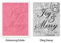 Sizzix-Textured Impressions-Embossing Folder w/Stamp - Joy & Merry Set by Hero Arts