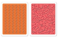 Sizzix-Textured Impressions-Embossing Folders 2PK - Chevrons & Flourishes Set by Hero Arts