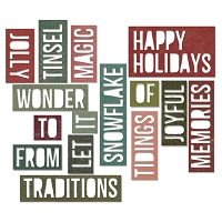 Sizzix - Thinlits Dies by Tim Holtz - 16PK - Holiday Words 2: Block