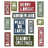 Sizzix - Thinlits Dies by Tim Holtz - 17pk Holiday Words: Block