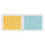 Sizzix Textured Impressions - Reading/Writing/Arithmetic Set By Emily Humble :)