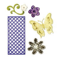 Sizzix Thinlits - Dies - by Rachael Bright - Butterfly, Flowers & Lattice :)
