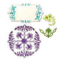 Sizzix Thinlits - Dies - by Rachael Bright - Ornate Flowers & Tag :)