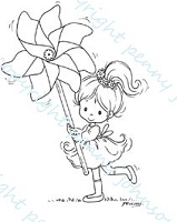 Stampavie - Clear Stamp - Little Tobi with Pinwheel - by Penny Johnson
