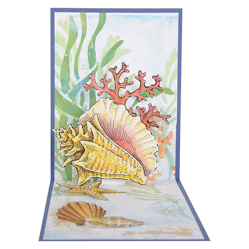 Seashells with Template Stampendous CRS5090 Cling Rubber Stamp Set