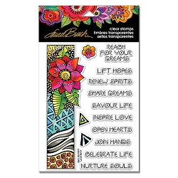 Stampendous - Laurel Burch - Geo Flora Wishes Perfectly Clear Stamps