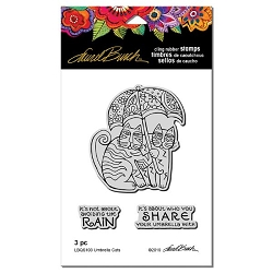 Stampendous - Laurel Burch - Umbrella Cats Cling Rubber Stamp Set