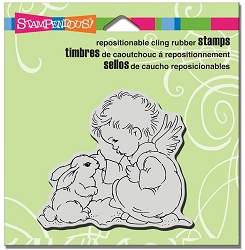Stampendous - Cling Mounted Rubber Stamp - Bunny Cherub