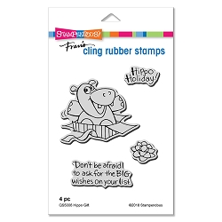 Stampendous - Cling Mounted Rubber Stamp Set - Hippo Gift C