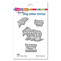 Stampendous - Cling Mounted Rubber Stamp Set - Manger Sheep