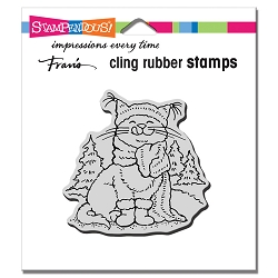 Stampendous - Cling Scarf Kitty Rubber Stamp