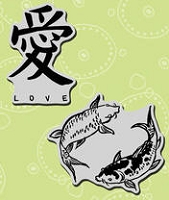 Stampendous Cling Mounted Rubber Stamp - Koi Love Set