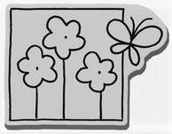 Stampendous Cling Mounted Rubber Stamp - Flutter Flowers Window