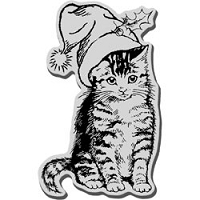 Stampendous Cling Mounted Rubber Stamp - Christmas Kitty
