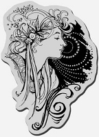 Stampendous Cling Mounted Rubber Stamp - Deco Lady