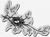 Stampendous Cling Mounted Rubber Stamp - Nesting Bird