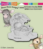 Stampendous House Mouse Cling Mounted Rubber Stamp - Daisy Float :)