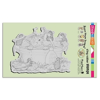Stampendous Cling Mounted Rubber Stamps - House Mouse Designs - Kitty Cleaning