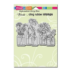 Stampendous Cling Mounted Rubber Stamp - Flower Jars Rubber Stamp