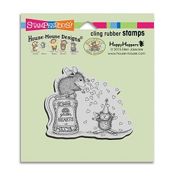Stampendous Cling Mounted Rubber Stamps - House Mouse Designs - Glitter Hearts Rubber Stamp