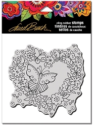 Stampendous - Laurel Burch - Cling Butterfly Heart Rubber Stamp
