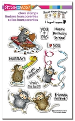 Stampendous Perfectly Clear Stamp - House Mouse Celebrate Friends